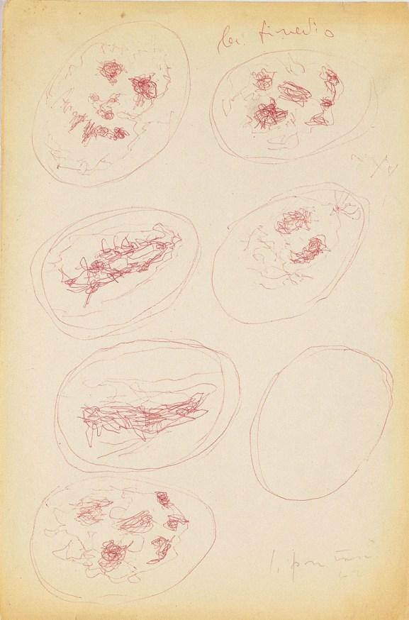 Lucio Fontana, Studi per Concetto spaziale, La fine di Dio, 1960-61, penna a sfera su carta, 33x22 cm, (60-61 DSP 118)