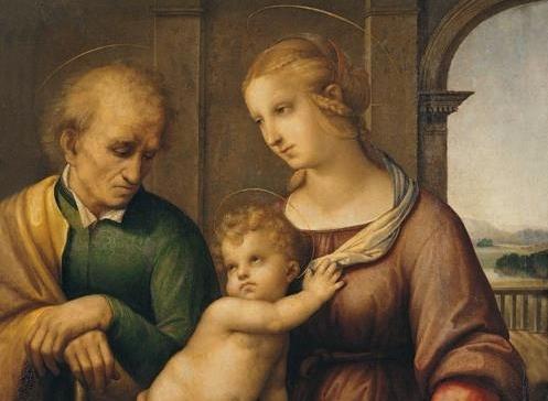 Raffaello Sanzio, Sacra Famiglia (dettaglio), 1506-07 circa, olio e tempera su tela, 72.5x56.5 cm, Museo Statale Ermitage, San Pietroburgo