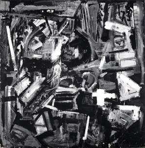 Emilio Vedova, De America '76 - 12, 1976, idropittura, carta e pastello su carta intelata, 207.6x203 cm