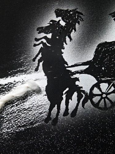 Enzo Cucchi, Cosmogonia III, 2013, cm 190 Ø, arazzo, cuciture in cotone e lana, tasca in cotone, quadricromia su canvas hahnemuhle 340 gr. Particolare. Courtesy Galleria Poggiali e Forconi