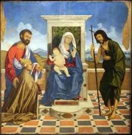 Vincenzo Catena, Madonna con Bambino in trono tra i Santi Marco e Giovanni Battista e il doge Leonardo Loredan (1501-21), 1505-07, olio su tavola, 145x139 cm, Museo Correr, Venezia