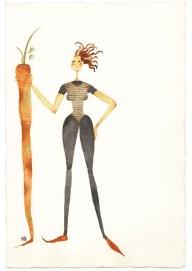 Maddalena Sisto, 60 idee per dimagrire senza fatica, 1994, acquarello su carta, 28x19 cm Courtesy Galleria Riccardo Crespi, Milano
