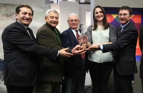 Arte Fiera, Premiazione Euromobil, i fratelli Lucchetta con Duccio Campagnoli e la vincitrice Nazzarena Poli Maramotti Foto Nucci/Benvenuti