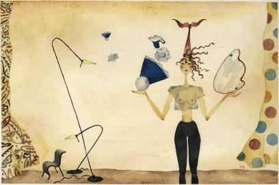 Maddalena Sisto, Design Symbols, 1990, acquarello su carta, 38x56,5 cm Courtesy Galleria Riccardo Crespi, Milano