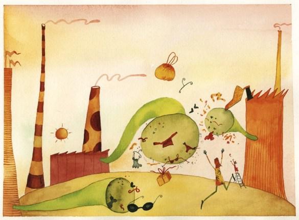 Maddalena Sisto, Outlet Lacchiarella, 1997, acquarello su carta, 38x28 cm Courtesy Galleria Riccardo Crespi, Milano
