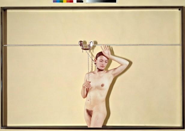 Vettor Pisani, Lo scorrevole, 1972 stampa fotografica, plexiglass, ferro, courtesy Collezione Maramotti