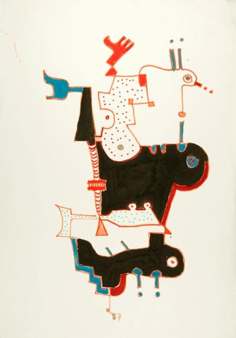 Senza titolo, 1987, pennarello e tempera su carta cm 49 x 34,5