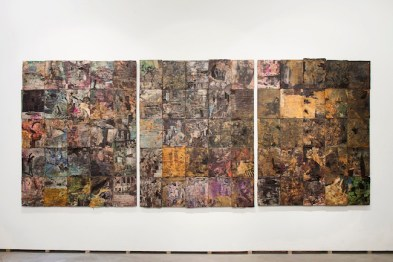 Gabriele Silli, Grande ottativo-digitale, 2014 75 fashion magazines altered in acid bathes, paper collage, ink and pigments mounted on three aluminium panels 175 x 418 x 0,5 cm photo by Federico Maria Tribbioli courtesy Federica Schiavo Gallery, Roma