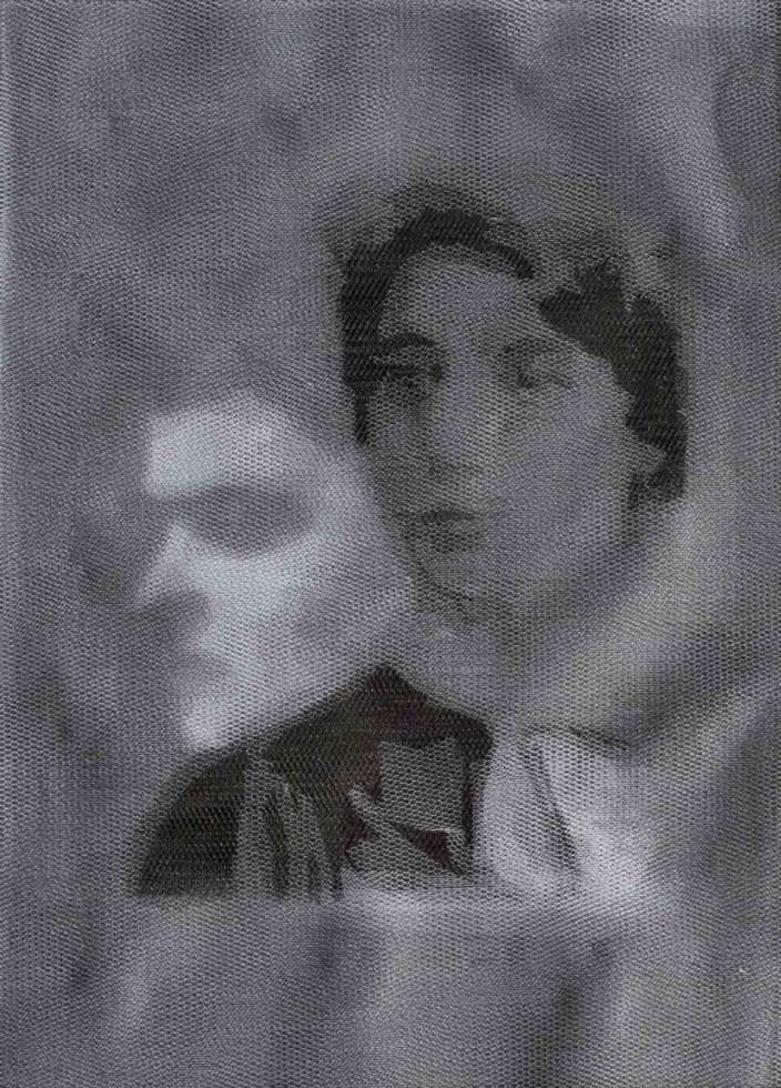Giorgio Tentolini, Underneath - Overlap, 2013, 8 strati di tulle bianco e 8 strati di tulle nero incisi a mano, 30x20 cm