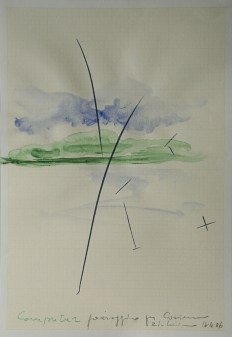 Luciano Fabro, Computer paesaggio per Cosimo, 1994-2006, acquerello su serigrafia Computer (1994), 42x29 cm, Collezione privata Foto: Annalisa Guidetti e Giovanni Ricci, Milano