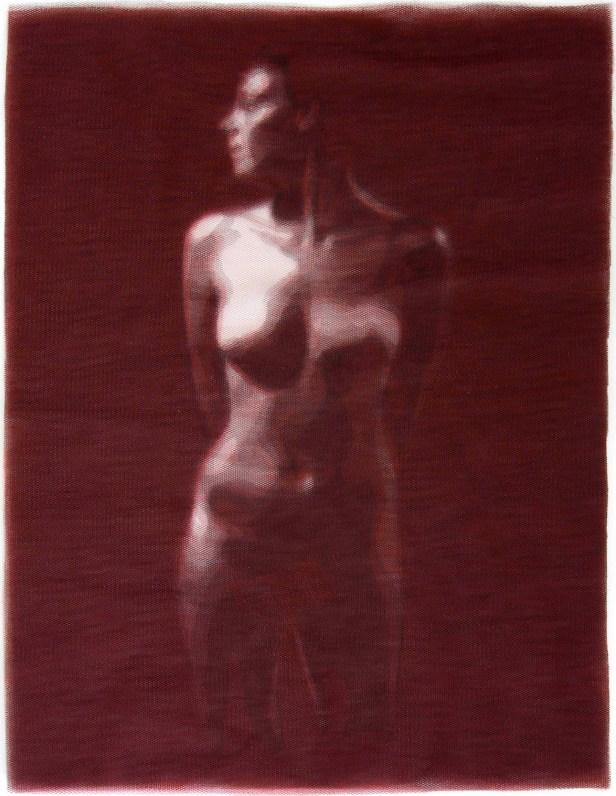 Giorgio Tentolini, Underneath - Anna, 2013, 16 strati in tulle nero e rosso intagliati a mano e sovrapposti, 59x42 cm