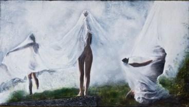 Gianluca Chiodi, Risvegli, cm 56x100, encausto e foto su tavola, 2013