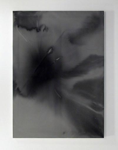 P. Timoney, Broken Arrows Mirror, 2009, colla di pelle di coniglio e inchiostro su tela, 196x140 cm, Courtesy l'artista e Andrew Kreps Gallery, New York