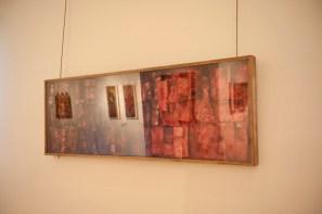 Renata Boero, Germinazione, tecnica mista sotto plexiglas, 60x180 cm, Museo Diocesano di Milano, Milano (allestimento nella sezione Fondi Oro) Foto Giorgio Majno