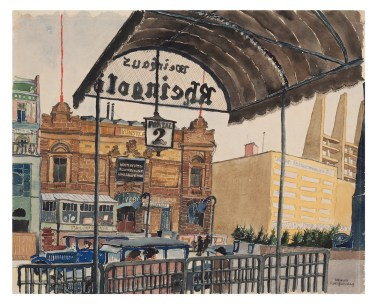 Carl Grossberg, Berlin Rheingold, 1928, acquerello su carta, 40x50 cm