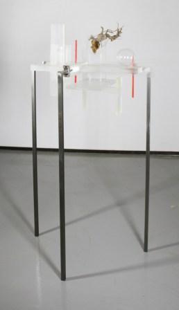 Maiorano, Architettura dell'animo #1, 2013, plexiglas, ferro, pigmenti, vetro e legno, cm 73x79x147