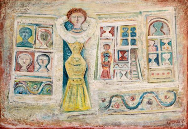 Massimo Campigli, Donna e casa, 1965, olio su tela