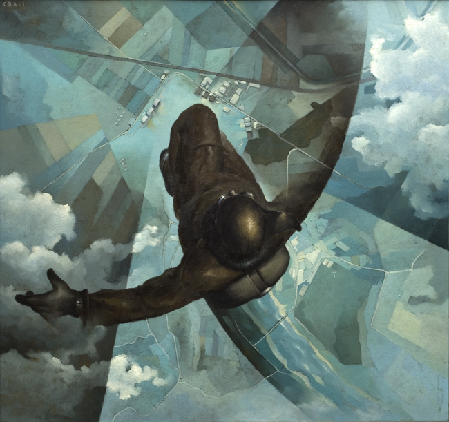 Tullio Crali, Before the Parachute Opens (Prima che si apra il paracadute), 1939, Oil on panel, 141 x 151 cm, Casa Cavazzini, Museo d'Arte Moderna e Contemporanea, Udine, Italy, Photo: Claudio Marcon