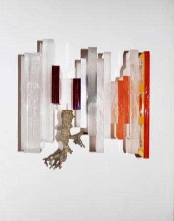 Maiorano, Architettura dell'animo #2, 2013, scultura a parete, plexiglas, ferro, pigmenti, legno, cm 35x21x31