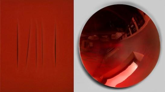Lucio Fontana /Anish Kapoor Concetto spaziale, Attese, 1967 / Untitled, 2002 Idropittura su tela, 92 x 73 cm / Acciaio inossidabile lucido e lacca, 120 x 120 cm Collezione privata, New York / Collezione privata © Fondazione Lucio Fontana, Milano, by SIAE 2014 / © Anish Kapoor, by SIAE 2014
