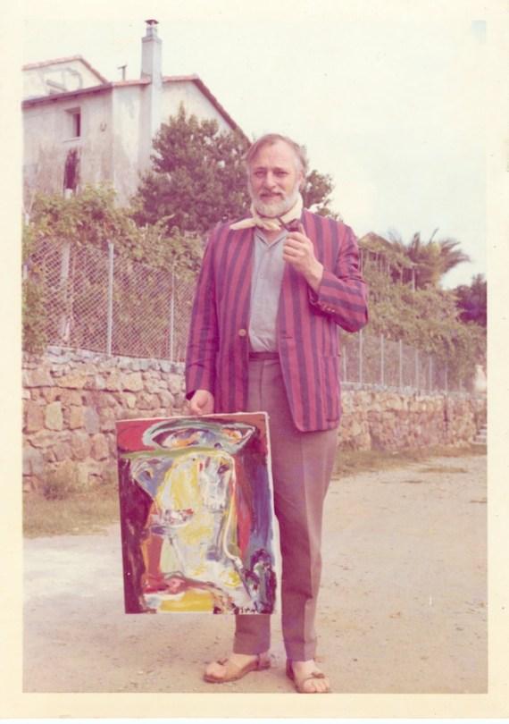 Ritratto di Asger Jorn con quadro, 10 gennaio '68