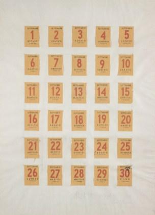 Piero Manzoni, Calendario (Projet de serigraphie), 1959, fogli di calendario su carta, 65x48 cm, Collezione privata