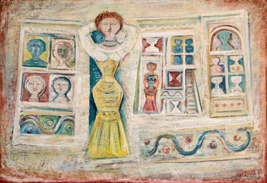 Massimo Campigli, Donna e casa, 1965, olio su tela, 100x147 cm