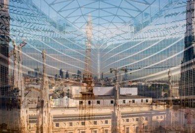 """Davide Bramante, """"My own rave"""" Milano (In alto) 2014, foto a colori realizzata con la tecnica delle esposizioni multiple, montaggio su plexiglas, dimensioni variabili"""