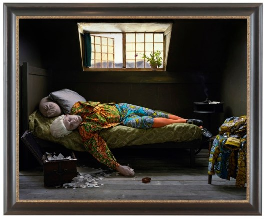 Yinka Shonibare MBE Fake Death Picture (The Death of Chatterton-Henry Wallis), 2011 Digital chromogenic print 148.91 x 180.98 cm Edition of 5 Courtesy of the artist and James Cohan Gallery, New York and Shanghai