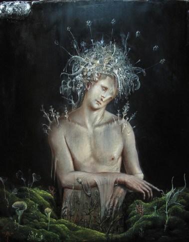 Agostino Arrivabene, Linfetto, 2014, olio su legno, 50x40 cm