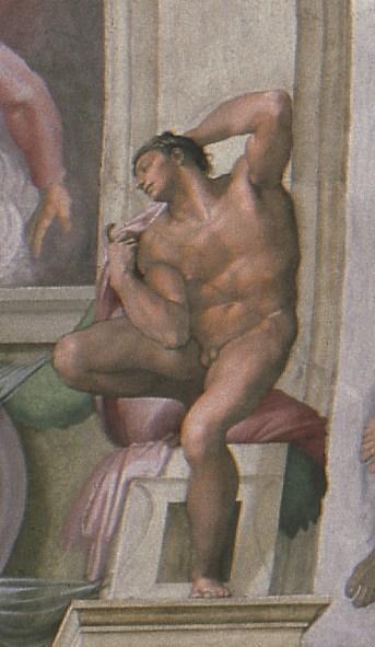 Michelangelo Buonarroti Ignudo, particolare della volta della Cappella Sistina, 1508-1512 Affresco © Musei Vaticani