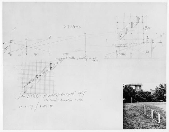 Jan Dibbets, Perspective Correction – 5 poles (Correzione prospettica – 5 pali),1967 fotografia in bianco e nero ematita su carta / b/w photograph andpencil on paper 50 x 56 cm