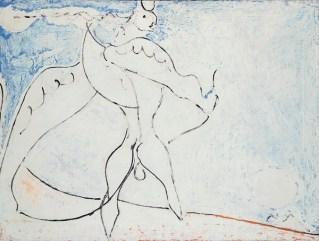 Osvaldo Licini, Angelo ribelle e luna bianca, 1952, olio su tela, 67x90 cm, Collezione privata Courtesy Lorenzelli Arte, Milano Foto Archivio Lorenzelli Arte, Milano