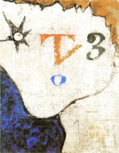 Osvaldo Licini, Figura T3, 1932-45, olio su tela, 19.5x25 cm, Collezione privata, Milano