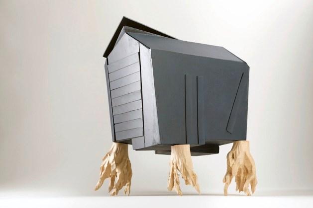 Willy Verginer, Neus jon pa bel plan, 2013, diversi tipi di legno, 30x24x18cm