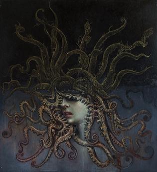 Agostino Arrivabene, Medusa, olio, foglia d'oro, su lino trasportato su legno, 44x40.5 cm