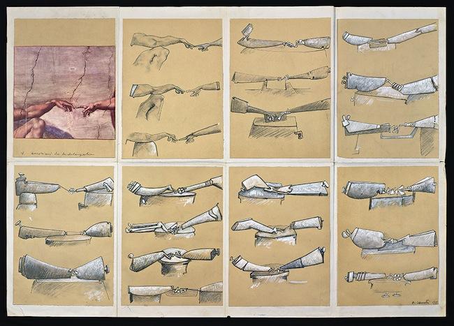 Nado Canuti, Occasioni da Michelangelo, La Creazione di Adamo 1951 tecnica mista su carta, mm 1070x780 Firenze, Casa Buonarroti, dono dell'autore