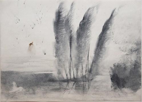Omar Galliani, 16 paesaggi per Giorgio, matita nera su carta e anello d'oro, 34.5x49 cm