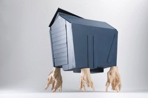 Willy Verginer, Neus jon pa bel plan, 2013, diversi tipi di legno, 30x 24x18cm