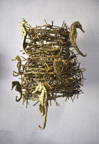 Filippo Sciascia, Untitled 8, 34 x 26 x 23 cm, Iron, Sea horse, Gold Pain, 2014
