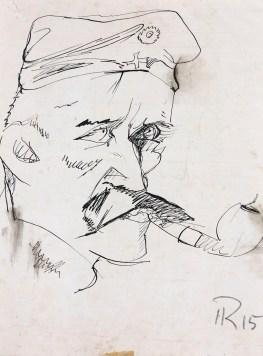 """Hans Richter, Potrat eines """"Kanonier"""" Gefahrten (Artillerist) aus den Schutzengraben, 1915, matita su carta, 26.7x20.3 cm, Collezione privata © 2014 Hans Richter Estate Foto courtesy of the Hans Richter Estate"""