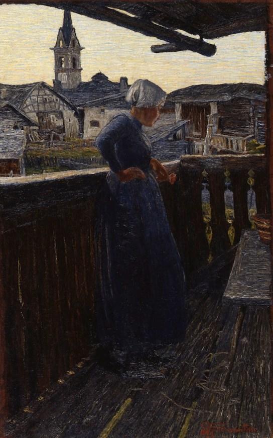 Giovanni Segantini, Sul balcone, 1892, olio su tela, 64.5x41 cm, Museo d'Arte dei Grigioni, Deposito della Fondazione Gotftfried Keller, Coira