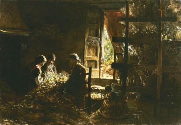Giovanni Segatini, La raccolta dei bozzoli, 1881-1883, olio su tela, 71x101 cm, Collezione Intesa Sanpaolo, Gallerie d'Italia - Piazza Scala, Milano