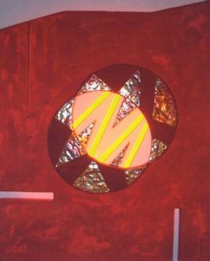 Gianpiero Castiglioni, Magia della luce, 2011, tenica mista su tavola con rame e neon, 97x77 cm