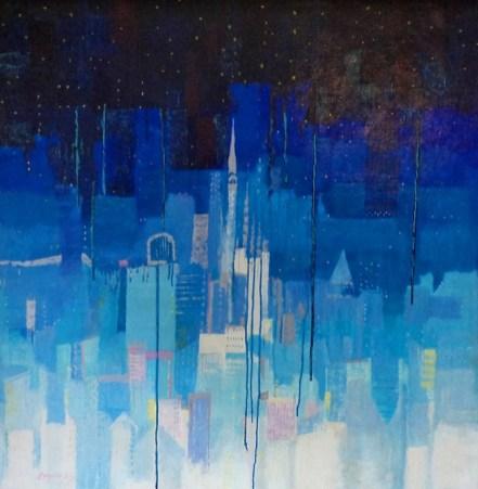 Luigi Bargellini, Star Dust - Polvere di Stelle, 2005, olio e acrilico su tela incollata su compensato, 100x100 cm - lato A