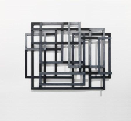 Alessandro Traina, Consequenza/7, 2011, acciaio corten, bitume e stoffa, 93x120 cm