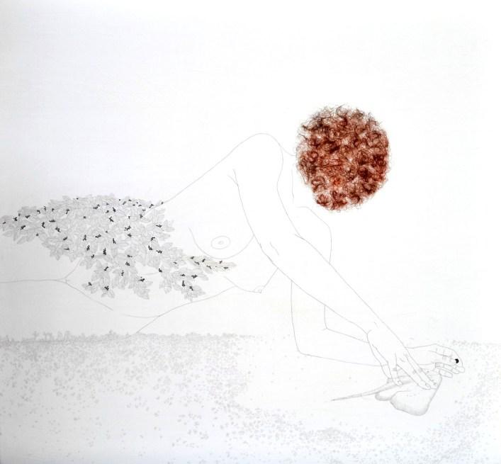 Tamara Ferioli, I can feel your heart's end, 2014, matite e capelli su carta giapponese intelata, 140x130 cm