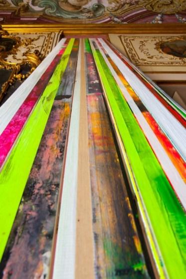 Dettaglio di Untitled, 2014, Acrilico su carta gommata su tavola. Dimensioni ambientali site-specific per Palazzo Mezzacapo, Maiori - Costa d'Amalfi ph courtesy Carlo Ferrara