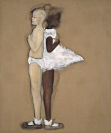 Kim Dingle Two Girls Standing Back to Back 1992 olio e carboncino su lino / oil and charcoal pencil on linen 183 x 152,5 cm Courtesy Collezione Maramotti © the artist