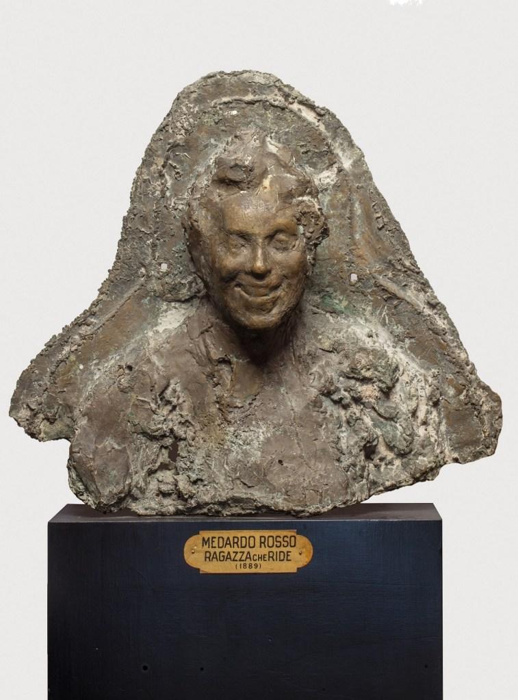 Medardo Rosso, Rieuse (Donna che ride), 1897 circa, busto fuso in bronzo, cm. 59x69x20, Galleria d'arte moderna di Palazzo Pitti, donato da E. Fles, 1920